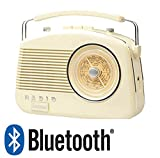 Steepletone Bluetooth Brighton Cream / Beige Retro 1950's Style 3 Band Portable Radio with Rotary Dial.Latest Model with Bluetooth to wirelessly connect Smartphones, Tablets and mp3 Players.