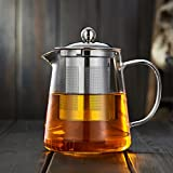 Hclove 26.5OZ/750ML Teapot, Grade Borosilicate Glass Tea Pot with Heat Resistant Stainless Steel Tea Infuser for Loose Leaf Iced Blooming or Flowering Tea, Multi-functional Teapot Perfect for Hot or Iced Tea and Coffe