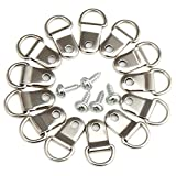 H&S 200 x D Rings Picture Photo Frame Hanging Hooks Hangers Canvas Hook Wall Bracket Hanger With Screws Stainless Steel Silver Small