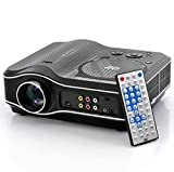 DVD Projector with DVD Player Built In - DVD Player Projector Combo, LED, 800x600, 30 ANSI Lumens, 100:1 Contrast - Ideal for Kids Room - Built in Games - Built In Tuner - Supplied With TV Antenna - Plays MP3, MP4, MPEG, AVI, DVD, USB, Audio CD, WMA, WAV - LED Lamp Does Not Get Hot - 20,000 hours lamp life
