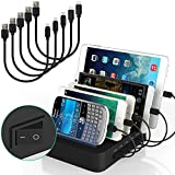 IMLEZON Multi Device Charging Station with 5 Short USB Cables 5V 40W 5-Port Multi Port USB Charger Station for Multiple Device Apple Products Iphone Ipad Android Cell Phone Tablets (Black)