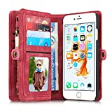 Leather Wallet Phone Case for iPhone 6 Plus/iPhone 6S Plus,Premium Zipper Flip Wallet Case Cover With Detachable Magnetic Hard Case,Red