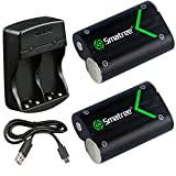 Smatree Rechargeable Battery for Xbox One/Xbox One Elite/Xbox One S/Xbox one X Wireless Controller,NI-MH Battery 2000mAH (2-Pack)+Dual-Channel Charger