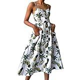 Women's Sexy Printed Off Shoulder Sleeveless Cami Princess Dresses Kanpola Ladies Summer Floral Boho Spaghetti Strap Button Down Swing Midi Dress with Pockets