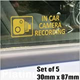 5 x Small In Car Camera Recording Stickers-See Colour Availability-Orange,Red or White Printed-CCTV Sign-Van,Lorry,Truck,Taxi,Bus,Mini Cab,Minicab-Security-Window,External,Tinted-Go Pro,Dashcam (Orange on Clear - Window Version)
