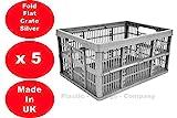5 x 32 Litre Foldable Crate Plastic Storage Box Basket