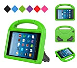Kids Case for Kindle Fire HD 8 2017, MENZO Light Weight Shockproof Silicone Handle Stand Kids Friendly Case for Fire HD 8 inch (2017 released), Green