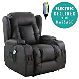 More4Homes (tm) CAESAR ELECTRIC AUTO RECLINER MASSAGE HEATED GAMING WING LOUNGE BONDED LEATHER CHAIR (Black)