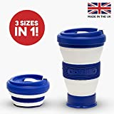 Blue Collapsible Coffee Cup - Reusable & Eco Friendly Folding Travel Mug That Fits in Your Pocket or Bag - Leak Proof Lid - 3 Adjustable Sizes To Suit Your Needs - Replace Takeaway Cups With This Perfect Gift For Coffee Lovers - By Pokito