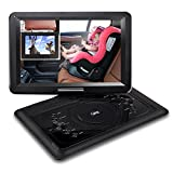 QKK 14.1' Portable DVD Player, 5000mAh 6 Hours Battery Life, 1.8M Charging Cable, 270°Rotatable HD Display, Supports USB and SD Card, Data Replication to USB Stick, with 2 Headphones.