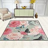 Area Rug, Butterfly Rose Flower Print Carpet Super Soft Polyester Large Non-Slip Modern Bath Mats for Bedroom Living Room Hall Dinner Table Home Decor 48 x 63 inch