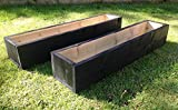 2 x 150cm Long Wooden Garden Planters - Painted Black: Fully Assembled - Just add plants: Fast & Free Delivery