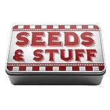 Red Seeds & Stuff gardening supplies gift idea Metal Storage Tin Box A035