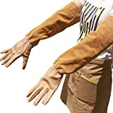 Goatskin Leather Thorn Proof Puncture Resistant Bramble Gloves, Heavy Duty Long Sleeves Arm Protectors Gardening Gauntlets Gloves For Pruning Roses Thorns Cactus Handling(HCT05) (HCT05 Mideum)