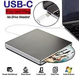USB-C Superdrive USB C External DVD CD Drive USB DVD/CD Burner Drive CD DVD+/-RW Rewriter/Writer/Player with High Speed Data for latest Mac/MacBook Pro/Laptop/Desktop Support Windows/Mac OSX(Grey)