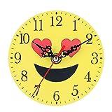 Demiawaking Cute Emoji Wooden Clock Decorative Desk Wall Clock Silent Non Ticking for Living Room Kids Bedroom Home Decoration (Love)