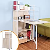 Life Carver Compact Computer Desk 4 Display Storage Shelves With Hideaway Folding Study Laptop Desk Table Home Office Furniture (Oak)