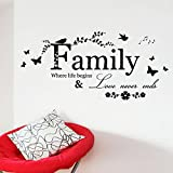 JINGXU Wall Decor Stickers Quotes Love Never Ends Flower wall sticke for Home Living Room Bedroom