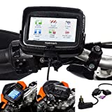 Ultimateaddons Motorcycle Quick Release Bike Handlebar Mount with 2 Amp Fast Charge Din Hella Charger Kit for TomTom Rider v5