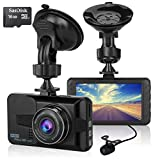 ULU Car Dash Cam 170°Wide Angle Front and Rear Dual Lens 1080P Full HD Digital Dashboard Camera In Car DVR with 3 inch LCD G-Sensor Parking Monitor WDR Loop Recording Night Vision (16GB Card Included)