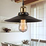 Vintage Retro Edison Loft Pendant Light, Makion Retro Industrial Ceiling Lamp Incandescent Bulb Painted Iron Umbrella Shade Country Style Lamp for Warehouse Restaurant Bar Counter Attic Bookstore Bedroom Hallway Home Decoration(Black E26/E27)