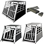 Aluminium Dog Pet Cage Transport Crate Car Travel Carrier Box Pet Kennel Carrier ((Large 65*91*70cm))