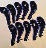 10 Neoprene JL Golf Club Headcovers Head Cover Iron Protect Set blue black