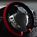 Hivel Winter Coral Fleece Hit Color Furry Plush Car Steering Wheel Cover Soft Warm Super Feeling Anti Slip Splicing Coral Velvet Vehicle Auto Steering Wheel Cover 38cm - Red