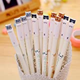 Allbusky Cute Cat 0.38 mm Gel Ink Rollerball Pens Novelty Pens for Birthday Gift School Office Stationery Back to School Gift Christmas Xmas Gift Set of 12 (Black)