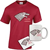 Mens Winter is Coming Game of Thrones Inspired T Shirt, Mug, Coaster Gift Set