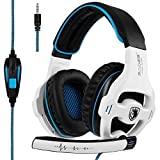 [2018 Latest Edition Xbox one Gaming Headset] SADES SA810 Over Ear Stereo Gaming Headset with Mic Bass Volume Control for Xbox One/PS4/PC/Laptop (White)