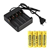 Mounter Smart Battery Charger,4 x 18650 3.7V 9800mAh Li-ion Rechargeable Battery Smart Charger With Indicator (Black)