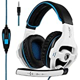 Sades SA810 Newest Version New Xbox One, PS4 Gaming Headset with 3.5mm wired Over-ear Noise Isolating Microphone Volume Control for Mac/PC/Laptop/PS4/Xbox one (Black&White)