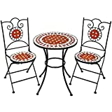 TecTake Mosaic garden table with 2 chairs outdoor furniture set decor terracotta pottery