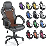TRESKO Racing Style Faux Leather Office Chair Executive Chair Swivel Chair Golden Brown, 14 colours available, Padded armrests, Racer Gaming Chair with tilt function and nylon castors, ergonomically designed, Gas lift SGS tested