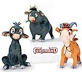 Ferdinand - Pack 3 plush toy Quality super soft - Ferdinand Adult 6'/16cm + Goat Lupe 6'/17cm + Ferdinand young 7'/19cm