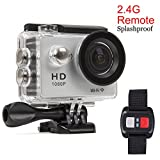 Sports Action Camera Wifi 1080P Full HD 12MP Waterproof Cam Underwater 30M with 2.4G Remote Control, 170° Wide Angle, 2.0' LCD Screen, 20 Accessories Kits