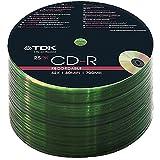 TDK 25-200 PACK CDR BLANK DISCS CD-R RECORDABLE CD 80 MINS 52X 700MB (25)