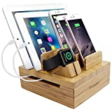 iCozzier Bamboo 5-slot Removable Tablet Phone Stand Holder Desktop Organizer for Apple Watch, iPhone, iPad, iWatch Stand Cord Organizer Multi-Devices Docking Station