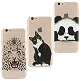 KANTAS {Pack of 3} Soft Silicone Case for iPhone 6S iPhone 6 Transparent Clear Back Cover for iPhone 6S/6 Flexible Grip Case Ultra Slim Fit Painting Design Slip Resistant Bumper Lightweight Case for iPhone 6S/iPhone 6 (4.7'), Cute Cat/Panda/Cheetah