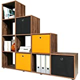 Bookcase Display Cupboard Stair Wooden Storage Shelf Unit White Oak Cube - Colour Choice