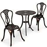VonHaus 3 Piece Cast Aluminium Bistro Set - Brushed Bronze Finish Table & 2 Chairs Set Outdoor Furniture for Deck, Patio, Garden