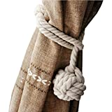 NUOLUX Hand Knitting Curtain Rope Curtain Tie Back, 1 Piece (Beige)
