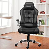 Office Chair Desk Chair Racing Chair Computer Chair with High Back PU Leather Executive (Black)