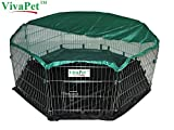 VivaPet Outdoor Octagon Rabbit Puppy Cat Run Cage Pen with Sun Protection Net Cover, 8 Panel, 55-inch, With Waterproof Nylon Base (8 Panel, 55-inch, )