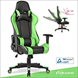 UEnjoy Gaming Office Chair Game Racing Ergonomic Backrest and Seat Height Adjustment Computer Chair With Pillows Recliner Swivel Rocker Headrest and Lumbar Tilt E-sports Chair (Black&Green Leather)