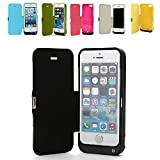 REALMAX 4200mAh iPhone 5 5C 5S Power Bank Case Slim External Backup Battery Charger with Flip PU Leather Front Cover Built-in Stand ( Black )
