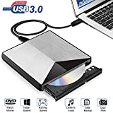 External DVD Drive, XBoze USB 3.0 Portable External CD DVD Burner Rewriter Drive Slim and light Aluminum CD Rom Drive for Windows, Laptop, Linux OS, Macbook Air/Pro, Desktop, All-in-one PC (Silver)