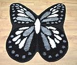 Beautiful Glittery Strip Butterfly Shape Room Floor Mat Carpet Ruge (Black Grey, 80 x 80 cm)