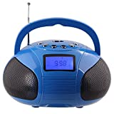 August SE20 – Mini Bluetooth MP3 Stereo System – Portable Radio with Powerful Bluetooth Speaker- FM Alarm Clock Radio with Card reader, USB and AUX in - 2 x 3W Stereo Hi-Fi Speakers (Blue)